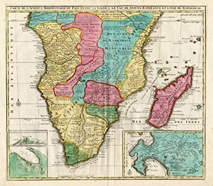 Amazon.com: Antique Map-SOUTH AFRICA-TANZANIA-MADAGASCAR ...