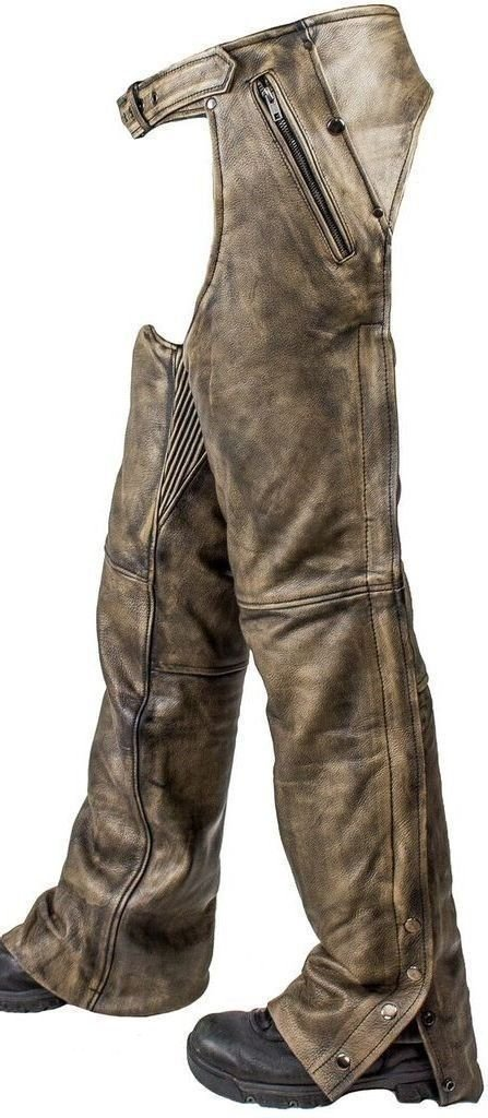 MEN'S MOTORCYCLE PANT REMOVABLE LINER DISTRESSED LEATHER CHAP WITH 4 POCKETS (L Regular) Unbranded