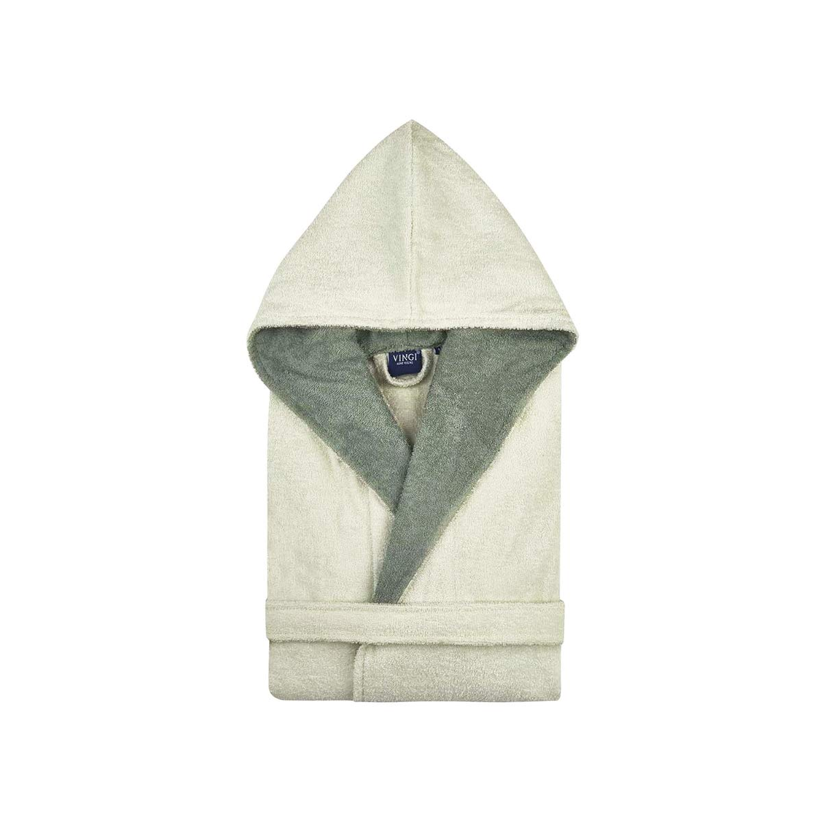 Avorio, S//M Vingi Accappatoio London Uomo Donna Spugna Vari Colori Cappuccio Tasche Cintura