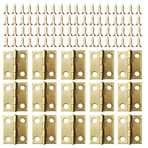 Small Mini Hinges, 50 Packs Cabinet Drawer Door Chest Butt Hinges Connectors with 200 Pieces 8 Mm Mini Brass Hinge Replacement Screws, Metal Hinge for Wooden Jewelry Box ()