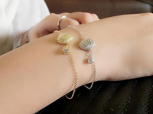 Abby Jewelry 925 Sterling Silver Starfish Sea Shell Frosty Mint Clear CZ Dangle Beads Bracelet For Woman Charm Bracelet Jewelry Making