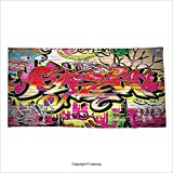 world atlas street art graffiti - Vipsung Microfiber Ultra Soft Bath Towel Rustic Decor Graffiti On Urban Street Art With Spray Paint Tagger Underground Theme Multi For Hotel Spa Beach Pool Bath