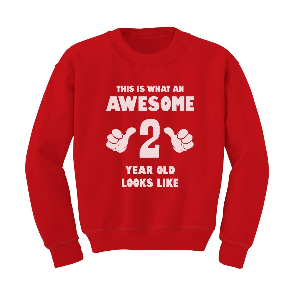 TeeStars - This Is What an Awesome 2 Year Old Looks Like Funny Kids Sweatshirt G0PMMlMgfm