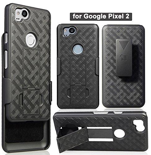 Pixel 2 Clip Case, Nakedcellphone's Black Kickstand Cover + Belt Hip Holster for Google Pixel 2 from Nakedcellphone