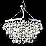 Saint Mossi Modern K9 Crystal Raindrop Chandelier Lighting Flush mount LED Ceiling Light Fixture Pendant Lamp for Dining Room Bathroom Bedroom Livingroom Umbrella-shaped 4 E12 Bulbs Required H39 X D18