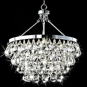 Saint Mossi Modern K9 Crystal Raindrop Chandelier Lighting Flush mount LED Ceiling Light Fixture Pendant Lamp for Dining Room Bathroom Bedroom Livingroom Umbrella-shaped 5 E12 Bulbs Required H39 X D18