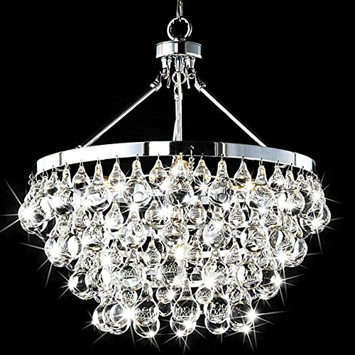Saint Mossi Modern K9 Crystal Raindrop Chandelier Lighting Flush mount LED Ceiling Light Fixture Pendant Lamp for Dining Room Bathroom Bedroom Livingroom Umbrella-shaped 4 E12 Bulbs Required H39 X D18 by Saint Mossi