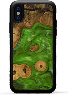 product image for Carved - Wood+Resin Case for iPhone Xs/iPhone X - One-of-A-Kind, Protective Traveler Bumper Cover (ID: 102913, Green)