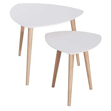 Homcom Lot De 2 Tables Basses Gigognes Design Scandinave Bicolore