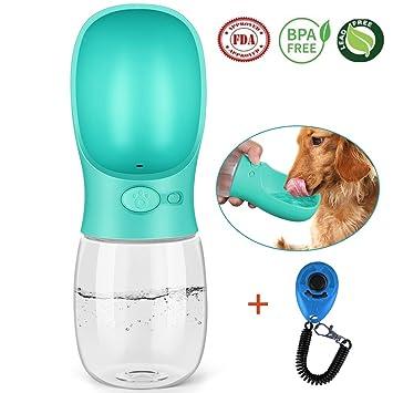 Botella de Agua para Perros, Toolove Pet Botella de Viaje Portátil + Clicker Adiestramiento Perro