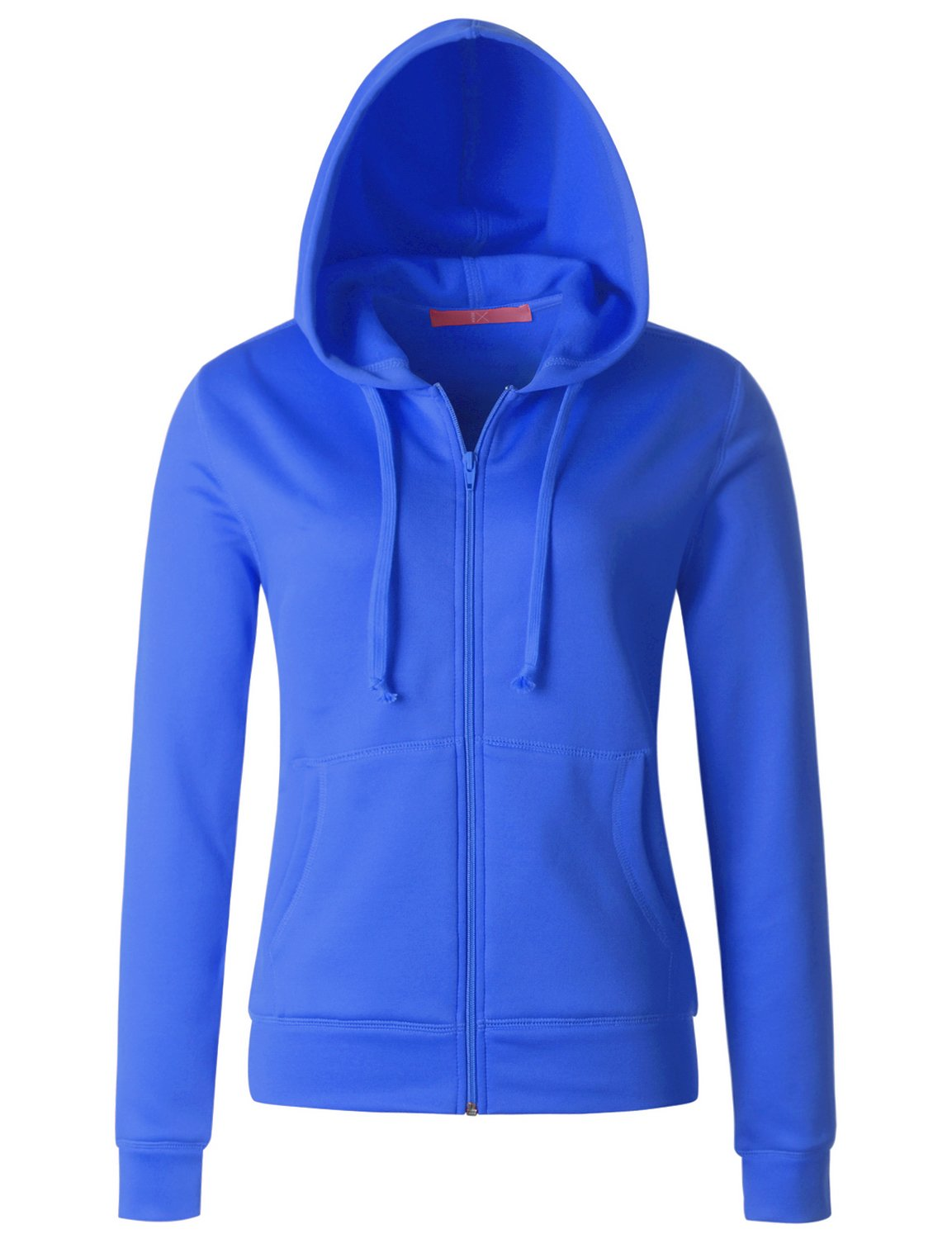 Regna X Love Coated Women Zip up Fleece Slim Fit Hooded Coat Melange Blue L