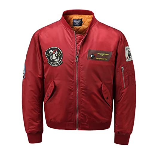 45b989522 AVIDACE Classic Bomber Jacket Men Nylon Quilted with Patches