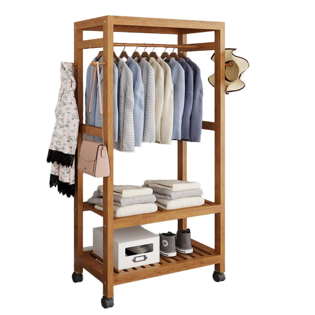 I 59x30x165cm(23x12x65inch) Multipurpose Bamboo Entryway Coat Rack with Shelf, Premium Coat Stand shoes Rack, with Roller Heavy Duty Hall Home-M 50x40x140cm(20x16x55)