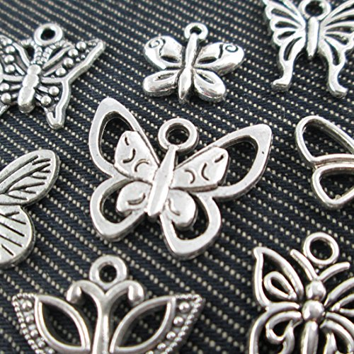 10 Mixed Silver Tone Butterfly Dragonfly Charm Fashion Pendants Jewelry Diy Accessories Jewelry Making (NS515 M027) (Silver Tone Butterfly Charms)