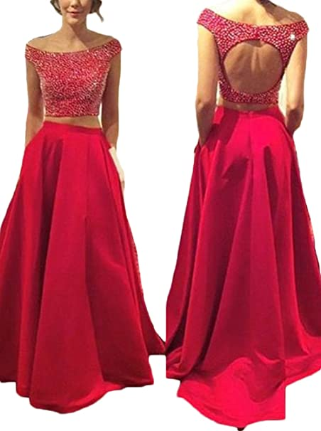817c77dba7 Ulbridal Women s Prom Dresses 2018 Long Two Pieces Red Beaded Homecoming  Dresses  Amazon.ca  Clothing   Accessories