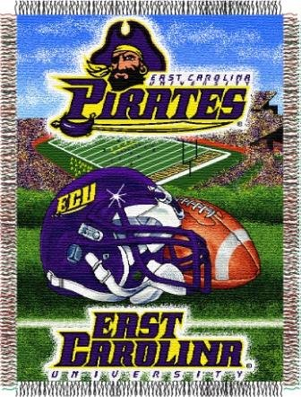 The Northwest Company Officially Licensed NCAA East Carolina Pirates Home Field Advantage Woven Tapestry Throw Blanket, 48
