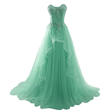 LiCheng Bridal Strapless Sweetheart Sequins Lace Tulle Appliques Ruffles Long Party Ball Gowns Prom Dresses Corset