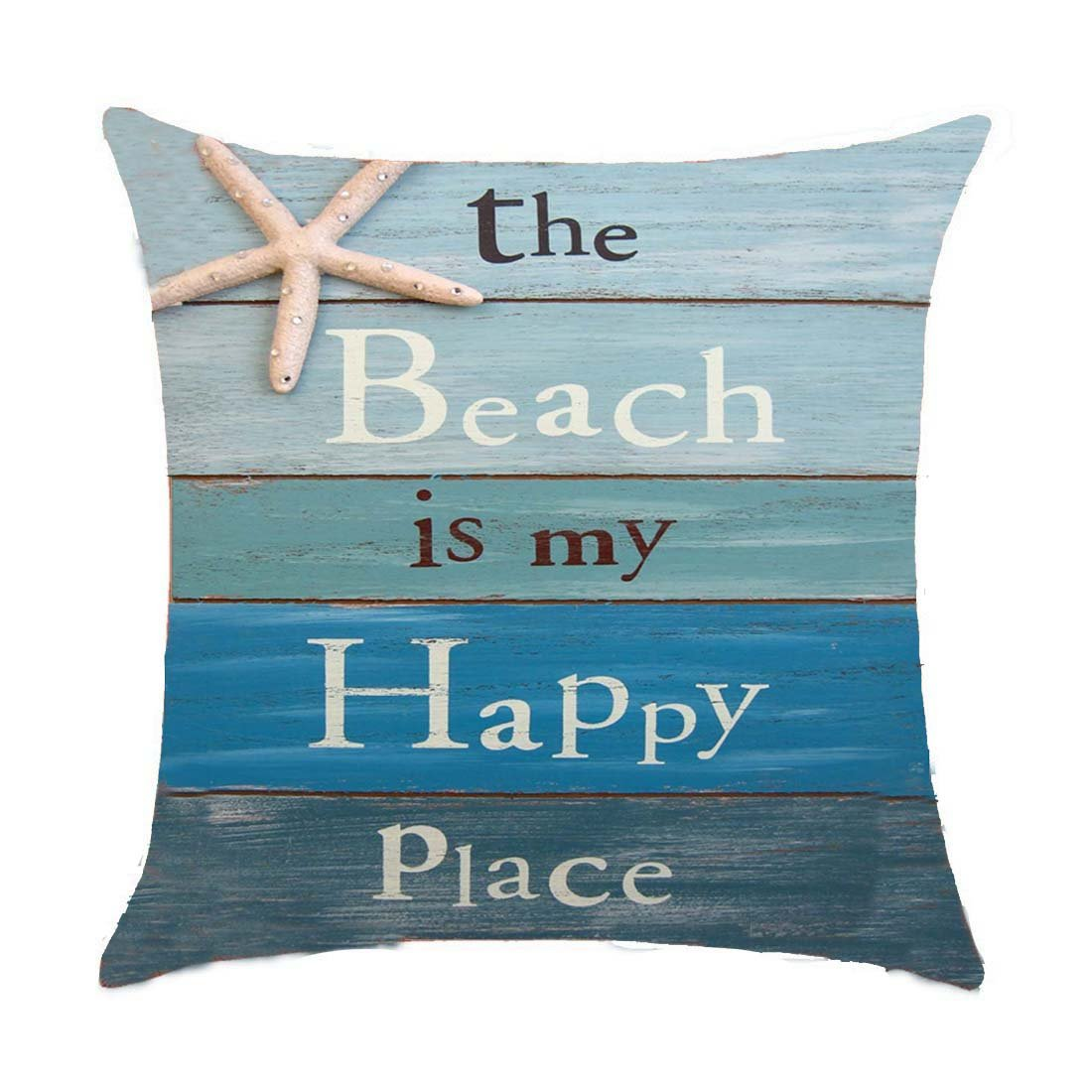 Refreshing summer The beach is my happy place Cotton Linen Throw pillow cover Cushion Case Holiday Decorative 18X18 inch GAWEKIQE 2