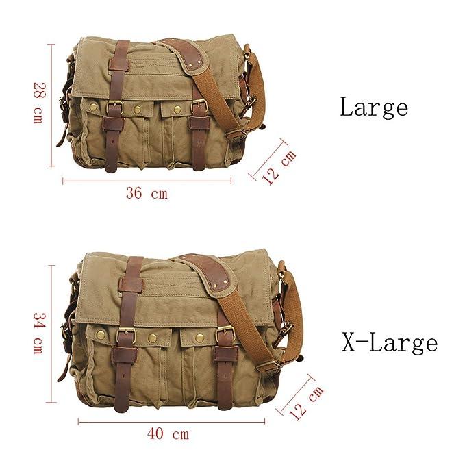 VRIKOO Vintage Military Soft Canvas Crossbody Sports Casual Shoulder Bags Satchel School Messenger Bag (Army Green,X-Large)