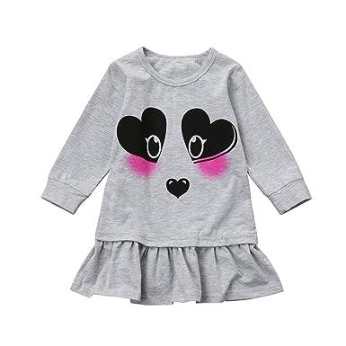 311b48bca2581 D-XinXin Girl Cartoon Panda Print Long Sleeve Dress,Kids Baby Girls ...
