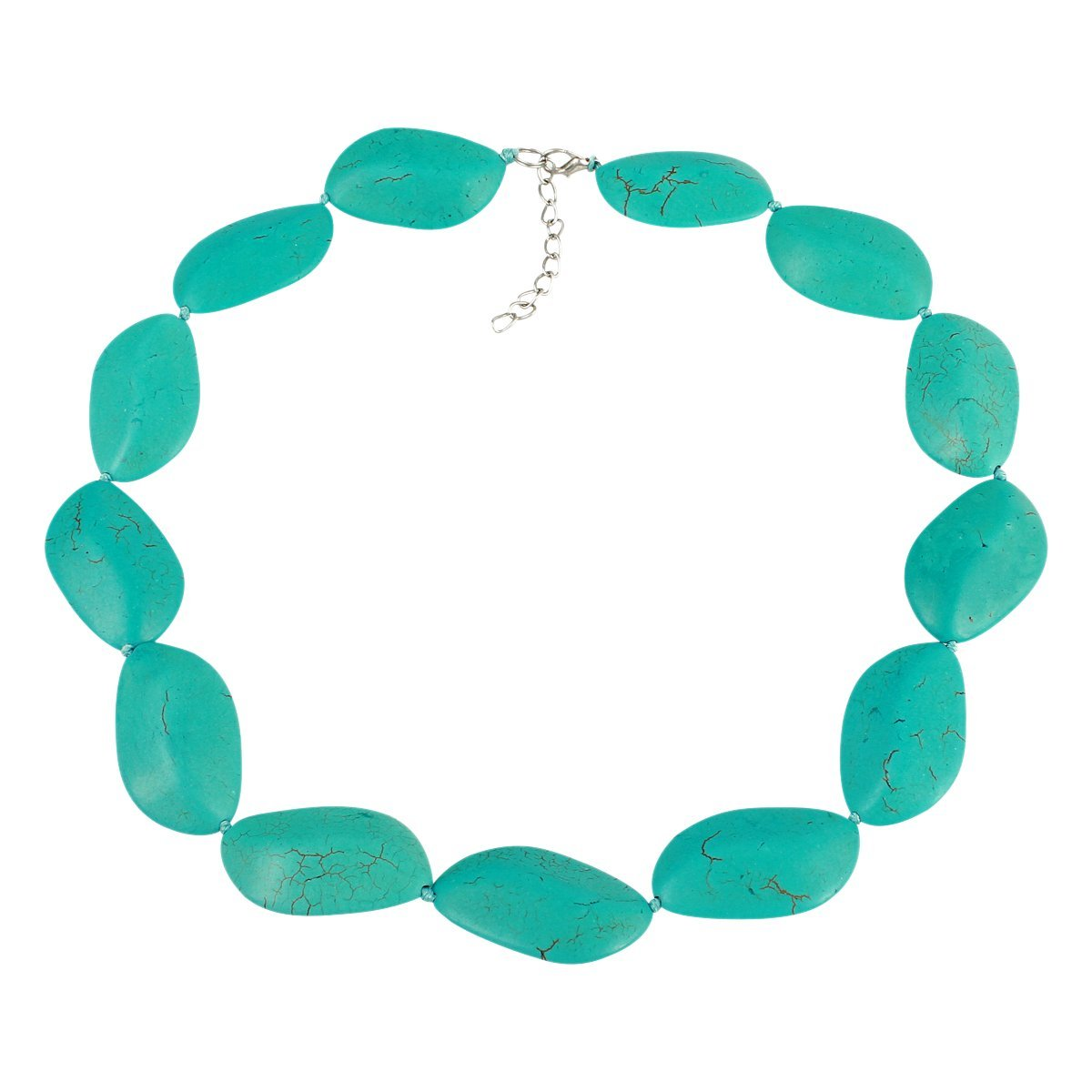 Diamond-Shaped Simulated Turquoise Stone Necklace