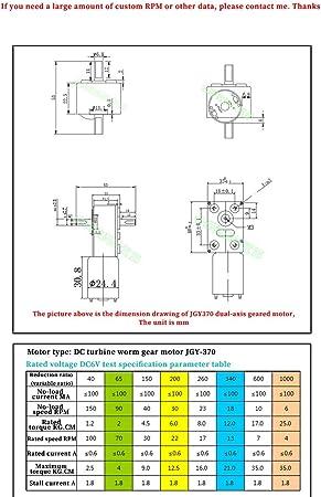 Motores reductores de velocidad Esfuerzo de torsi/ón del motor de doble eje autoblocante rueda helicoidal fuerte 24v motor DC motor del engranaje 6V 12V de baja velocidad de avance y retroceso