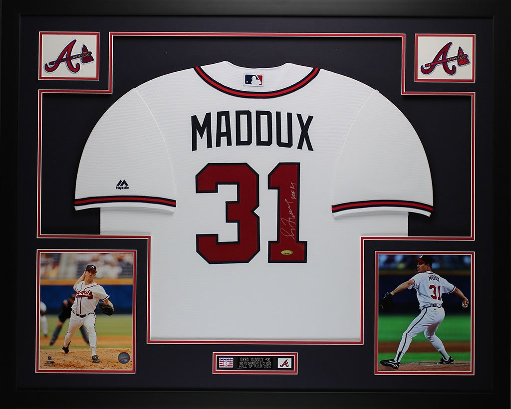 Greg Maddux Autographed White Braves Jersey - Beautifully Matted and ...