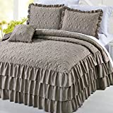 Home Soft Things Serenta 4 Piece Matte Satin Ruffle Quilted Bedspread Set, King, Taupe