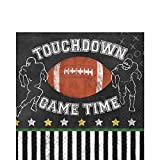 Amscan Football Game Time 6.5'' Luncheon Napkins, Black White Brown, 36 CT
