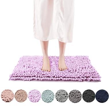 Freshmint Chenille Bath Rugs 1.65  Piles, Soft Fluffy Super Absorbent Bath Mats, Plush Shag Rug, Non-Slip Carpet for Tub Bathroom Shower Mat, Machine-Washable Durable Area Rugs (24  x 16.5 , Lavender)