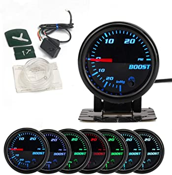 HOTSYSTEM 7 Color Turbo Boost//Vacuum Gauge Kit Pointer /& LED Digital Readouts 2-1//16 52mm Black Dial for Car Truck