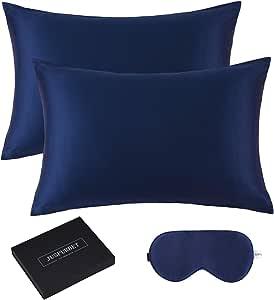 JUSPURBET 6A Grade Silk Pillowcase for Hair and Skin with 1 Slik Eye mask Gift Box, Pack of 2 100% Mulberry Silk Pillow Covers and Hidden Zipper,19mm,Standard,Navy Blue