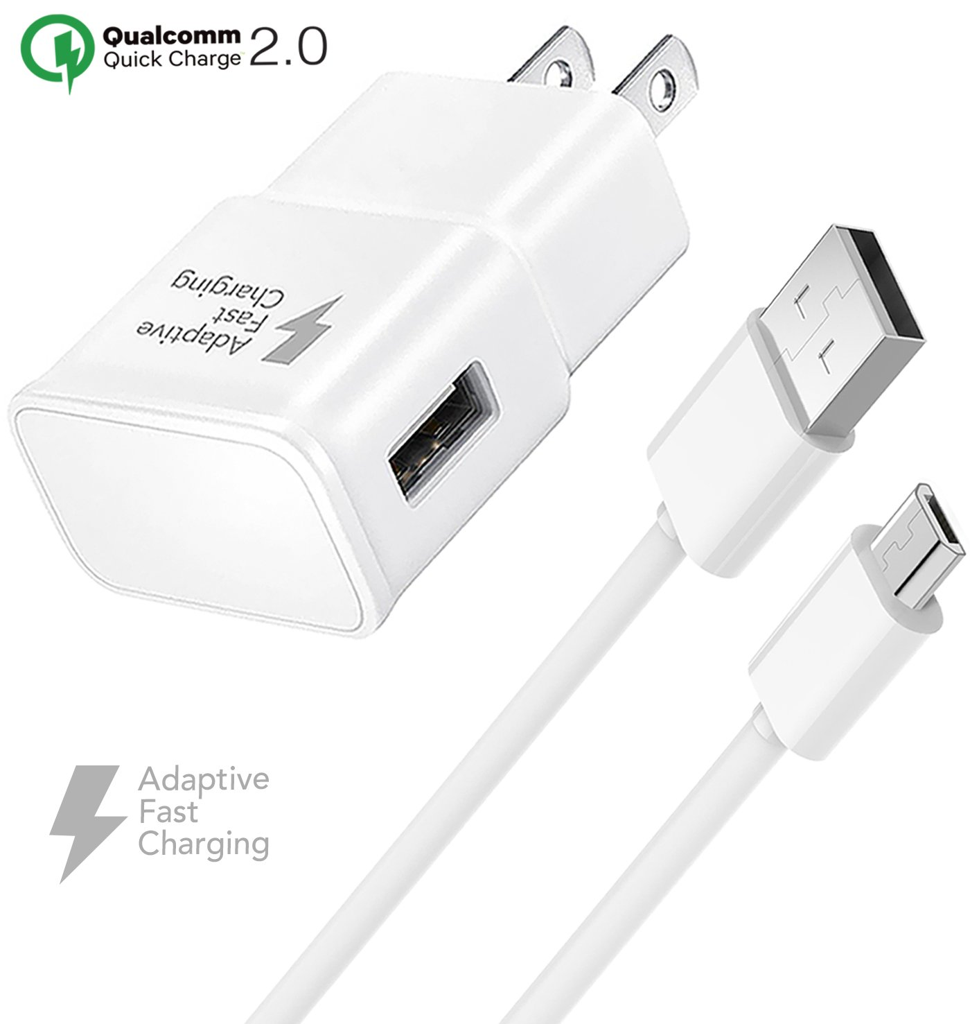 Samsung Galaxy S7 Adaptive Fast Wall Charger Set with Micro-USB Cable, Galaxy S6, Galaxy S7 Active Charger Quick Micro USB 2.0 Cable Compatible with ...