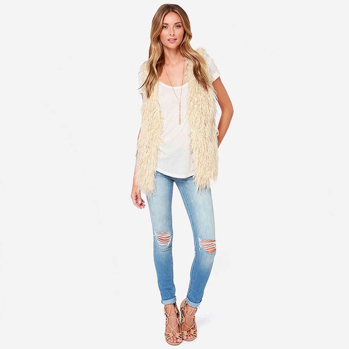 Amazon.com: WeHeart Women Beige Faux Fur Collarless Hairy Winter Vest:  Clothing
