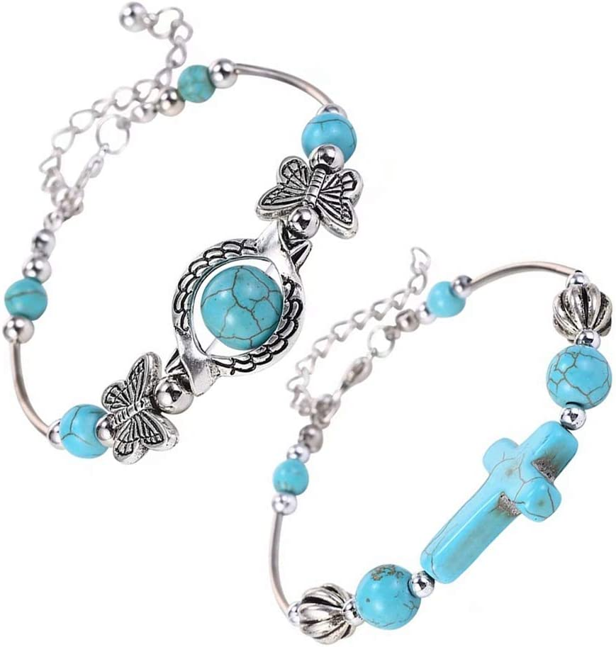 WEILYDF Turquoise Bracelet Classic Luxury Women Summer Unique Design Beaded Imitation Gemstone Butterfly Bracelet Jewelry