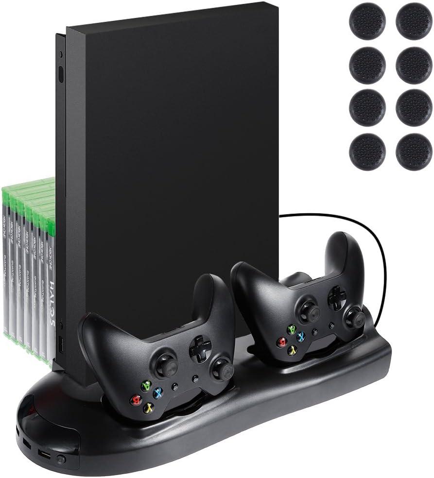lictin Xbox One X Soporte vertical Ventilador con estación de carga dual para 2 mandos de Xbox One X + 8 Silicona Pulgar para Xbox One X controlador (solo para batería original