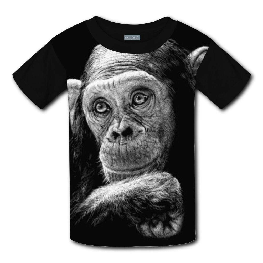XiuHongShangMAo Unisex Youth 3D Monkey All-Over 3D Printed Graphic T Shirts Short Sleeve Kids Tee