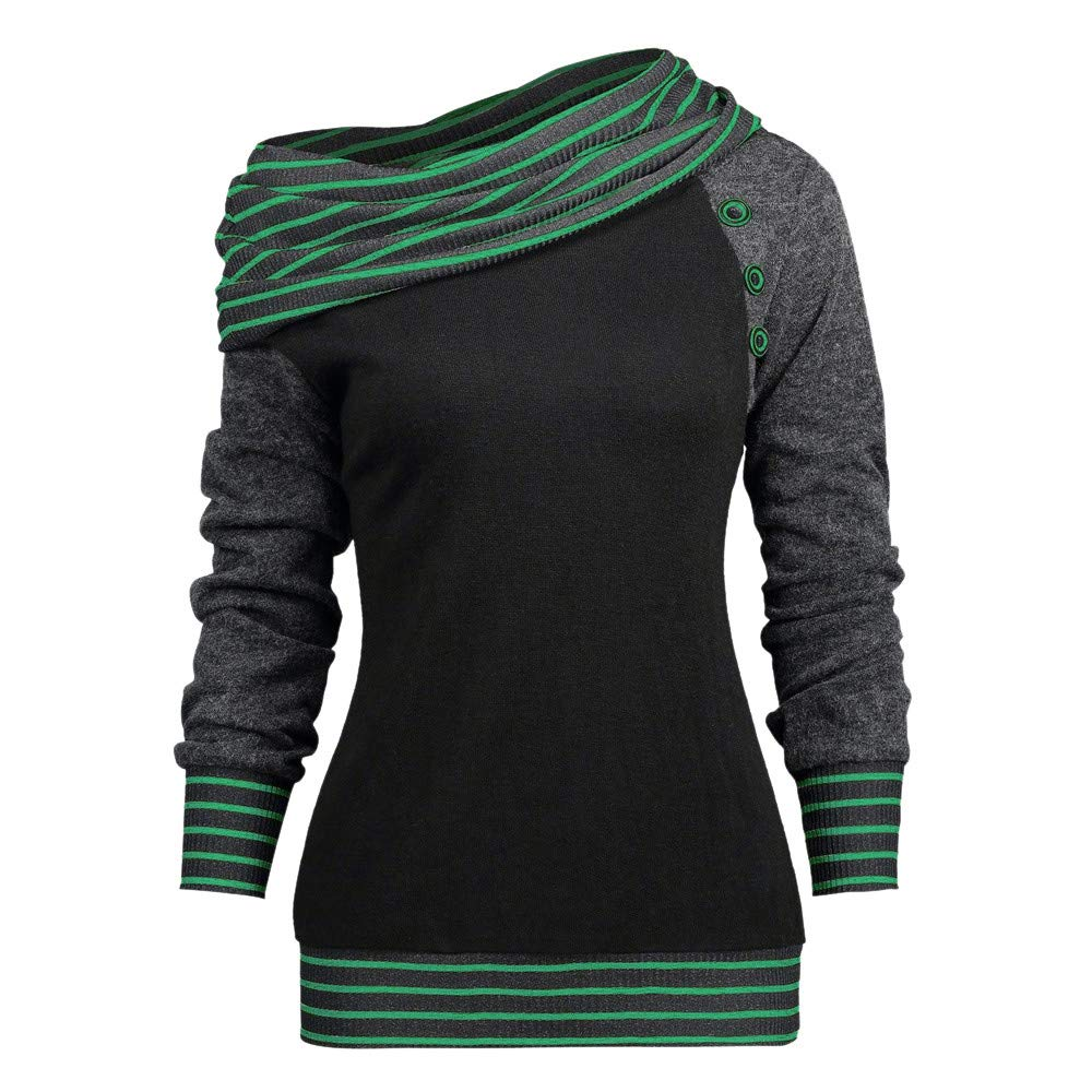 OCEAN-STORE Blouses for Women Striped Patchwork Sweatshirt Shirts Tops ON-12 ON-123