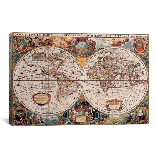 - iCanvasART Antique World Map Canvas Art Print by Henricus Hondius, 18 by 12-Inch