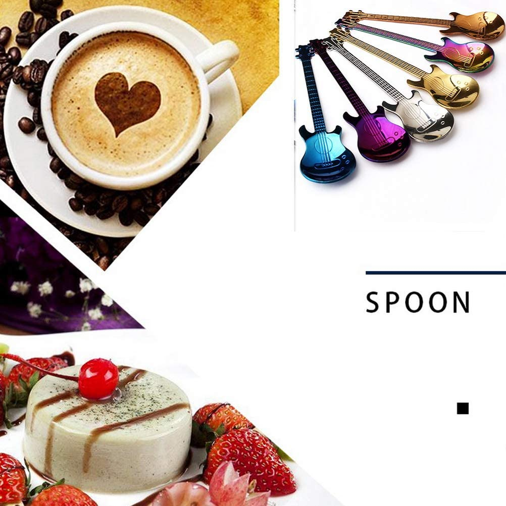 nuoshen Cat Spoons Coffee Teaspoon Set,6pcs Stainless Steel Colorful Dessert Spoon Rainbow Tableware Creative Flower Tea Spoons Set