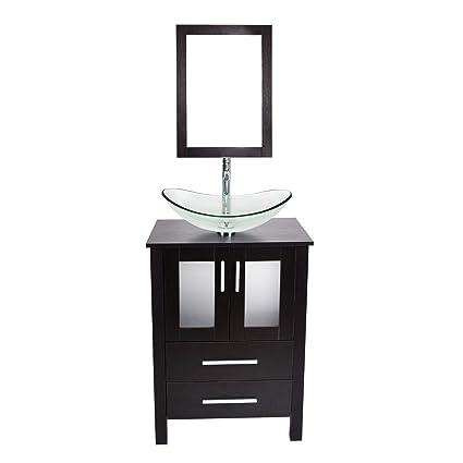 24 Inch Modern Bathroom Vanity Lavatory Stand Cabinet Storage Wooden