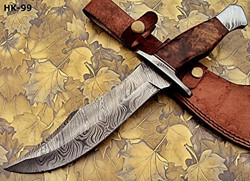 REG-274, Handmade Damascus Steel 13.00 Inches Hunting Knife - Rose Wood with Damascus Steel Guards Handle by Poshland