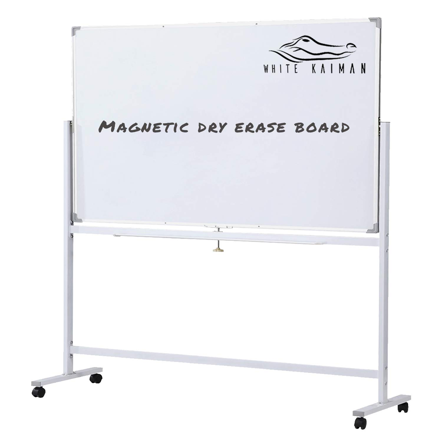 White Kaiman Dry Erase Magnetic Whiteboard w/Stand - Double Sided Reversible Marker Board, Mobile Metal Stand w/ 4 Locking Wheels - Accessories Included One Marker & Eraser and 3 Magnets (48'' x 24'')