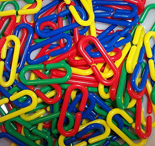 1316 50 pc Plastic C Clips Hooks Chain Links Sugar Glider Rat Parrot Bird Toy Parts