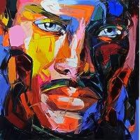 WunM Studio Pittura Ad Olio Dipinto A Mano su Tela,Abstract Figura Umana Pittura,Colorita Face,Moderno Professionale Europea Decorazioni A Parete per Ingresso Soggiorno Cucina da Letto Adulti Doni