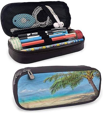 Estuche de colores para paisajes Estuche de palmeras Coconut Island Estuche para lápices Superficie lisa: Amazon.es: Oficina y papelería