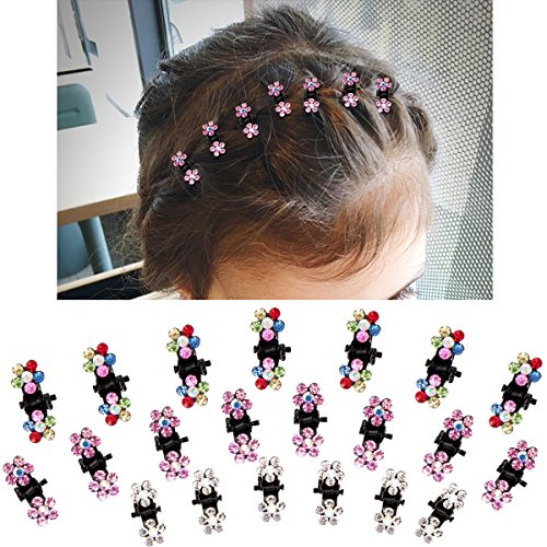 ACO-UINT 36 Pieces Mix Colored Rhinestone Mini Hair Claw Clips Flower Crystal Small Butterfly Hair Claw Clips Hair Clipsfor Baby Toddler Girls Women Hair Accessories (3 (Crystal Claw Set)