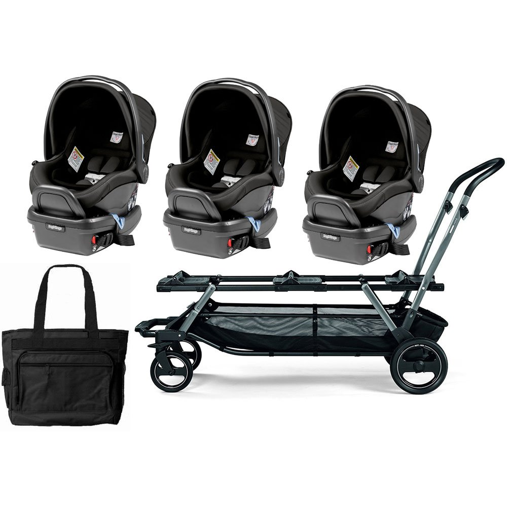 Peg Perego Triplette Piroet Stroller with Primo Viaggio 4/35 Infant Car Seats and Diaper Bag - Atmosphere