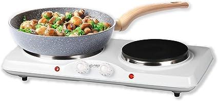 TZS First Austria Cocina eléctrica doble de hierro fundido para el hogar, camping y viajes, termostato con 5 niveles de temperatura, color blanco, ...