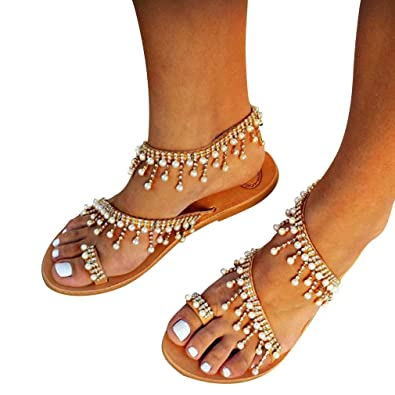 New girl/'s kids sandals White pearl beads casual open toe summer